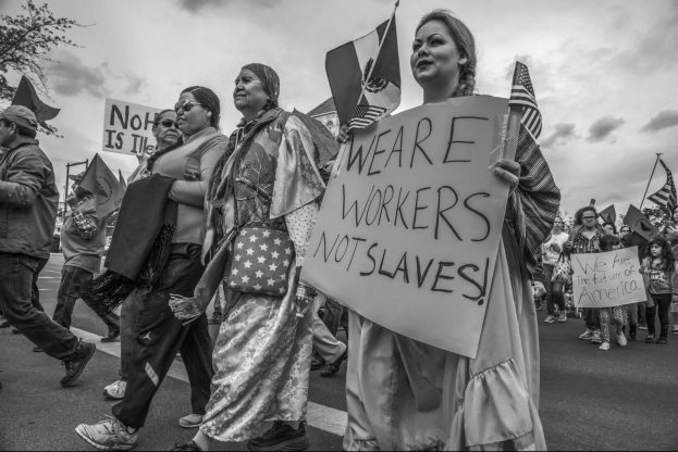 Yakima Nation Native Americans and Immigrants March to Celebdrate May Day