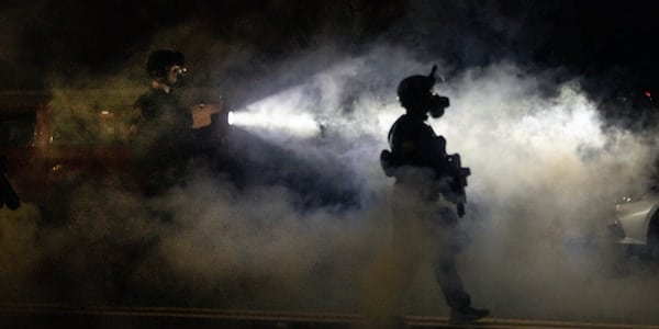 Portland police take control of the streets in Portland, Oregon on September 5, 2020. Photo: Paula Bronstein/AP