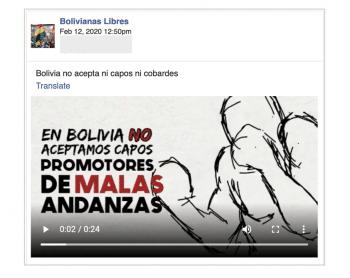 CLS Strategies propaganda targeting Bolivian women on Facebook