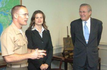 Future CLS Strategies senior advisor David Romley in his Marines uniform with Secretary of Defense Donald Rumsfeld