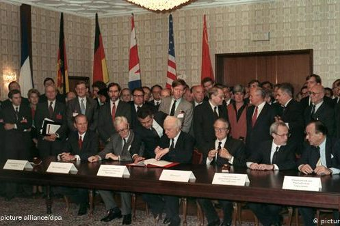 Signing ceremony of The Treaty on the Final Settlement with Respect to Germany