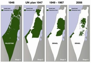 Map showing the diminishing lands of Palestine, from roughly the inception of the State of Israel until 2008. Image courtesy of the Palestine Solidarity Campaign/Flickr.
