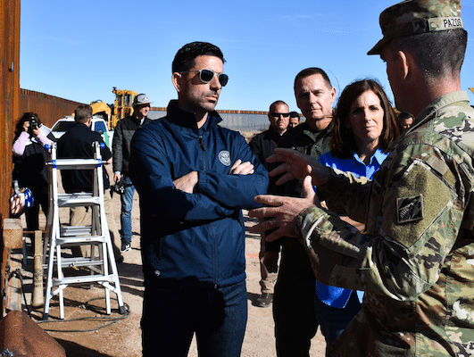 "U.S. Army Commander Col. Rafael ""Pete"" Pazos speaks to Secretary of Homeland Security Chad F. Wolf and Sen. Martha McSally in Yuma, Arizona on January 10, 2020. Catherine Carroll 