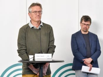 Tegnell, Sweden's COVID-19 guru, gives a daily update on the coronavirus situation in Stockholm, June 3, 2020. Anders Wiklund | TT via