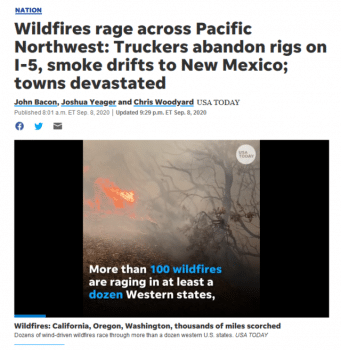 "A USA Today story (9/8/20) had one phrase reporting that California Gov. Gavin Newsom said the number of wildfires was ""evidence of the effects of climate change""—but devoted more space to noting that one fire ""was caused by a smoke-generating pyrotechnic device used by a couple to reveal their baby's gender."""