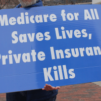 Demand SINGLE PAYER Expanded & Improved Medicare for All HR 676 Now Protest at the Baltimore Convention Center on Pratt at South Charles Street in Baltimore MD on Saturday morning, 11 February 2018 (Photo: Elvert Barnes Photography)