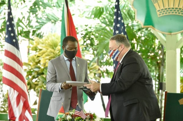| US Secretary of State Mike Pompeo announces the patrols alongside Guyanas newly installed conservative president Irfaan Ali Resumen Latinoamericano | MR Online