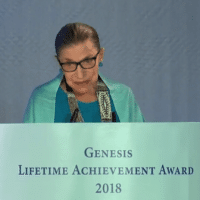 RUTH BADER GINSBURG ACCEPTS ISRAELI PRIZE IN JULY 2018 IN TEL AVIV. SCREENSHOT.