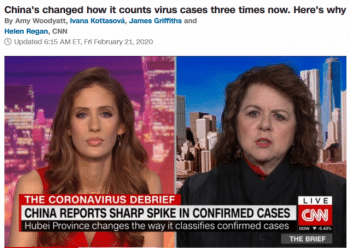 "CNN's Bianco Nobilo (2/21/20) interviewing Laurie Garrett. CNN reported calls to treat China's numbers skeptically, ""given the government's track record of suppressing information about this epidemic."""