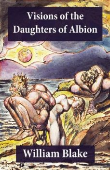 Book cover based on original frontispiece of William Blake's 'Visions of the Daughters of Albion', which inspired Peter Linebaugh's book title for 'Red Round Globe Hot Burning'