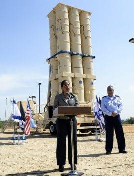 Ambassador Rice speaks in front of an Israeli missile battery in Tel Aviv during an 2014 visit to Israel. Photo | US Embassy Tel Aviv