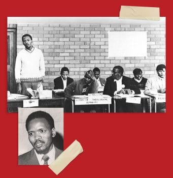 Steve Biko (standing) and Rubin Phillip (far right) at a 1971 conference of the South African Students' Organisation (Saso) in Durban. Steve Biko Foundation Steve Biko Fraser MacLean / Historical Papers Research Archive University of the Witwatersrand