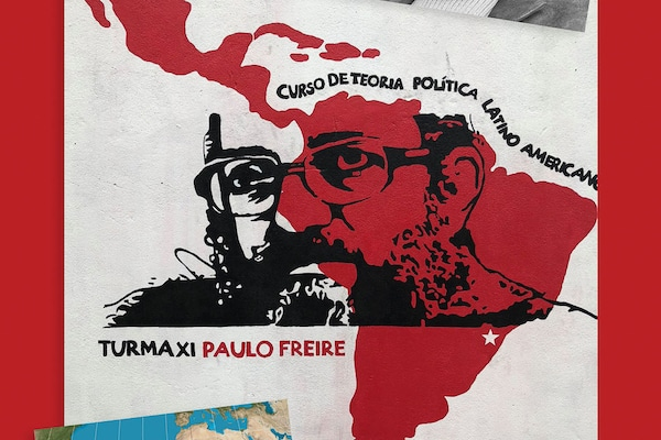 Mural of Paulo Freire at the entrance to the Florestan Fernandes National School of the Landless Rural Workers' Movement (MST) in Guararema, Brazil, 2018. Richard Pithouse