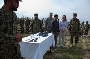 Flournoy meets with Afghan Army personnel during a tour of the Kabul Military Training Center Aug. 7, 2010. Photo | DVIDS