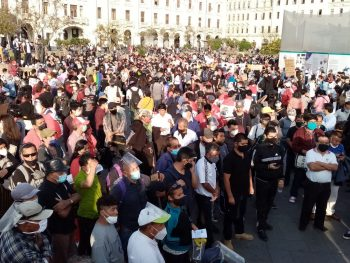 Mass protest in Plaza San Martin in Lima