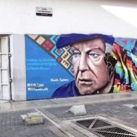 Mural of Eduardo Galeano in Los Apamates Street in Sabana Grande, Caracas, Venezuela (7 December 2017).