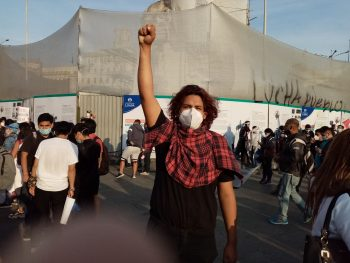 A protester in Lima.