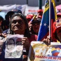 Pro-government supporters gather in Sucre Square during a demonstration against imperialism (Carolina Cabral / Getty)