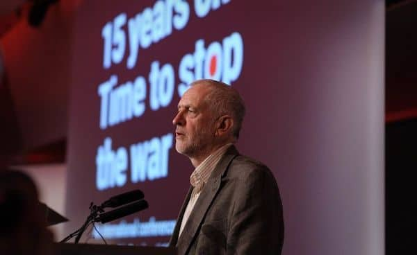 Jeremy Corbyn at at 15 Years On: Time To Stop The War, London TUC Congress House. Photo: Jim Aindow / Counterfire / Flickr / all rights reserved