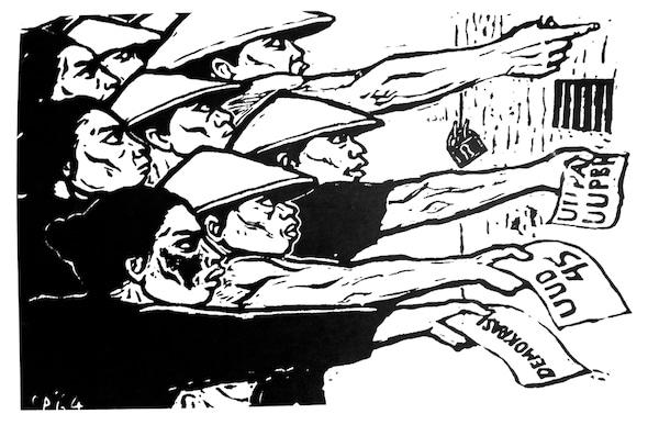 S. Pudjanadi, Kaum Tani Menuntut ('Peasants Make Demands'), published in Harian Rakyat, 21 June 1964. The demands read, from top to bottom: UUPA ('agrarian law 1960'), UUD 45 ('Indonesian 1945 constitution') and demokrasi ('democracy').