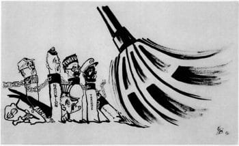 S. Nar, People's Iron Broom, from the Afro-Asian People's Anti-Imperialist Caricature Exhibition, 1966.