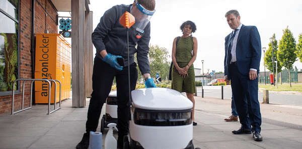   THE END OF WORK Labour leader Keir Starmer meets a fleet of Starship delivery robots at a Coop in Milton Keynes during a visit to discuss technological innovation during Covid19   MR Online