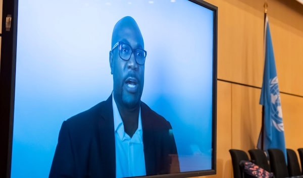 Philonise Floyd, left, brother of George Floyd, speaks via video message at the Human Rights Council of the United Nations in Geneva, Switzerland, June 17, during an urgent debate on current racially inspired human rights violations, systematic racism, police brutality against people of African descent and violence against peaceful protests (Photo: Martial Trezzini/Keystone/Pool/AP)