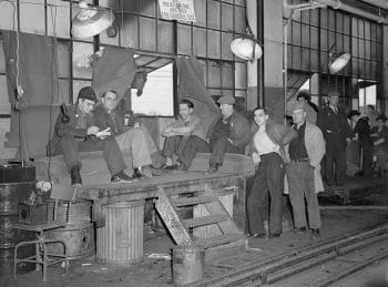 The 1936–37 Flint sit-down strike against General Motors. (Wikimedia Commons)
