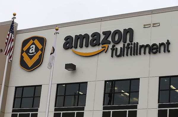 The exterior of an Amazon fulfillment center in Tracy, California. (Justin Sullivan / Getty Images)
