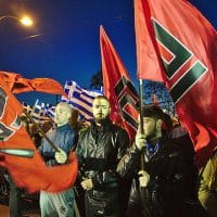Golden Dawn members at rally in Athens 2015 (Photo: Wikimedia Commons)
