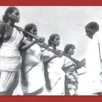 Mallu Swarajyam (left) and other members of an armed squad during the Telangana armed struggle (1946-1951)