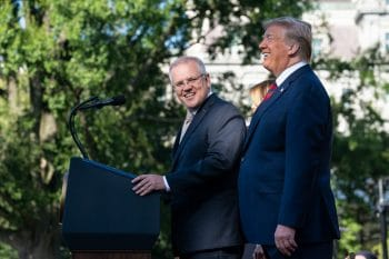 Australian Prime Minister Scott Morrison with U.S. President Donald Trump in Washington, D.C., Sept. 20, 2019, on the South Lawn of the White House. (White House, Shealah Craighead)
