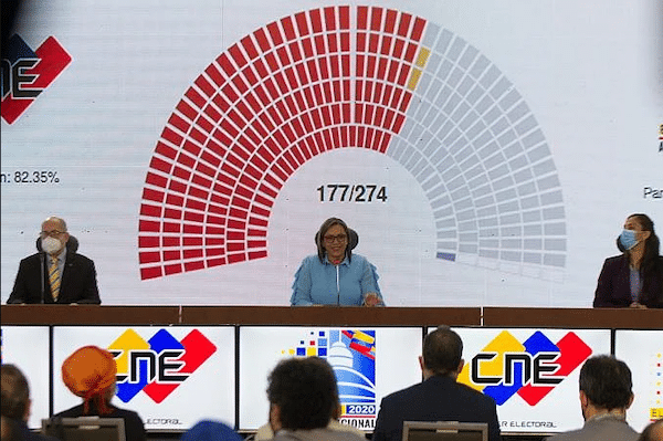 | National Electoral Council President Indira Alfonzo announces the initial results late Sunday night CNE | MR Online