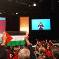 Palestine flags at Labour Conference, September 2018. Photo: James Thomas Griffiths