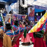 Thousands participated in MAS' victory celebration on October 24 in El Alto. Photo: Zoe PC