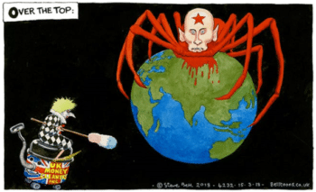 Ex-UK Prime Minister Theresa May and President Putin -- editorial cartoon by Steve Bell, The Guardian, March 15, 2018.