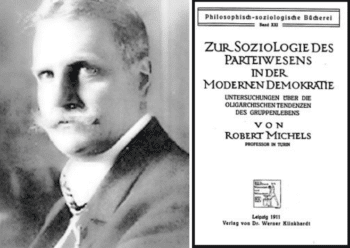 Robert Michels, Political Parties -- A Sociological Study of the Oligarchic Tendencies of Modern Democracy. First published in German in 1911, then Italian in 1912, with the author's additions, it was translated into English by Eden and Cedar Paul in 1915. In 2001 their edition was published on the internet by Batoche Books (Canada) at this link [17].