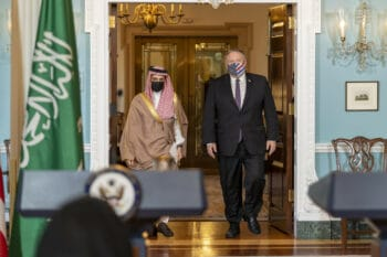 Oct. 14, 2020: Secretary of State Mike Pompeo and Saudi Foreign Minister Prince Faisal bin Farhan Al Saud prepare to address reporters in Washington, D.C. (State Department, Ron Przysucha)