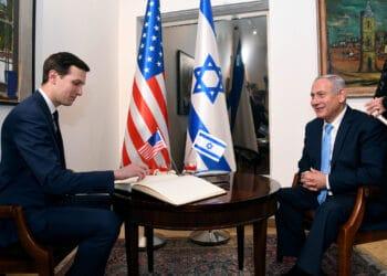 Jared Kushner and Israeli Prime Minister Benjamin Netanyahu in 2018, at embassy dedication ceremony. (U.S. Embassy Jerusalem, CC BY 2.0, Wikimedia Commons)