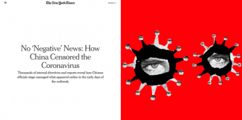 "A New York Times/Pro Publica article (12/19/20), on how China promoted a ""soothing message from the Communist Party: that it had the virus firmly under control,"" neglected to point out that the Chinese Communist Party in fact had the virus firmly under control."