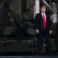 Donald Trump visits a tank production facility in Ohio in 2019. [Source: vanityfair.com]
