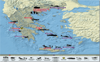 U.S. bases in the Eastern Mediterranean as of 2020. Red: Already existing and partially functioning bases. Purple: Projects for future military bases. [Source: rizospastis.gr]