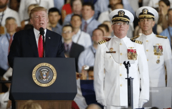 Trump speaks at the launching of the state-of-the-art U.S.S. Ford ship in Norfolk, Virginia, in July 2017. [Source: apnews.com]