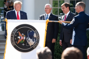 Trump and Pence unveil new space command logo. [Source: theverge.com]