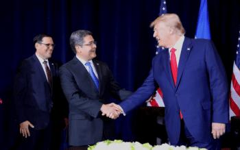 Juan Orlando Hernández with Trump in New York, September 25, 2019. [Source: businessinsider.com]