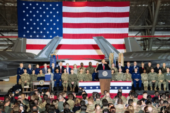 Trump announces signing of National Defense Authorization Act (NDAA) at Andrews Air Force base in December 2019. [Source: defense.gov]