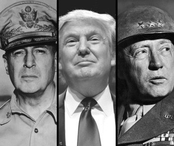 Trump flanked by his heroes: General Douglas MacArthur (left) and George S. Patton (right). [Source: saportareport.com]