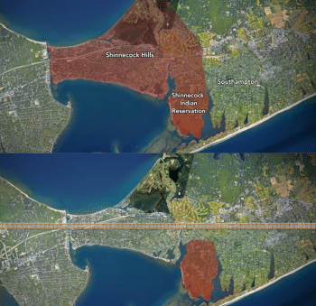 Top: Shinnecock Hills after ratification of treaty. Bottom: Remaining reservation after treaty was broken and a bulk of land was stolen to build a railroad and new wealthy settlements. It was an intentional settler policy to sequester the Shinnecock to the marshiest part of the island, hoping that they would die within two generations.
