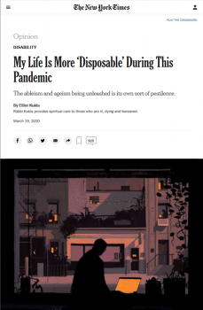 """""""The stark message to chronically sick, disabled people and elders is that we are 'acceptable losses,'"""" Elliot Kukla wrote in the New York Times (3/19/20)."""