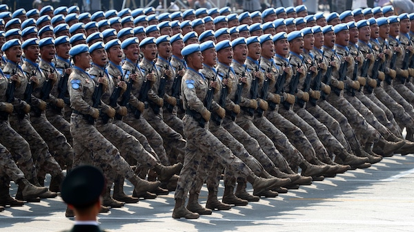 Chinese military personnel march during the parade to commemorate the 70th anniversary of the founding of Communist China in Beijing, Tuesday, Oct. 1, 2019. Ng Han Guan | AP